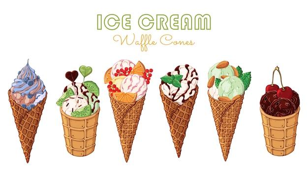 Vector gelato decorato con frutti di bosco, cioccolato o noci.