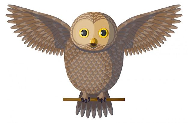 Vector gufo marrone diffondendo le ali e fischio.