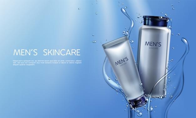 Vector i cosmetici realistici 3d per gli uomini nella spruzzatura dell'acqua blu
