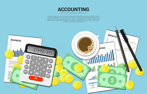 Vector il calcolatore con la pila di vista superiore della banconota e della moneta. tavolo spazio di lavoro del ragioniere. concetto di investimento e contabilità delle informazioni aziendali