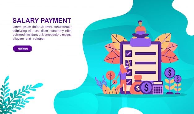 Vector il concetto dell'illustrazione del pagamento di stipendio con il carattere. modello di pagina di destinazione