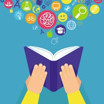 Vector il concetto di istruzione - mani che tengono il libro nel retro stile piano