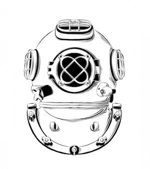 Vector il disegno del casco di immersione subacquea nel colore nero, isolato su bianco.
