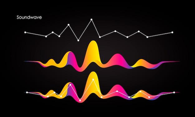 Vector il fondo astratto con onde, linea e particelle dinamiche colorate.