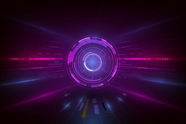 Vector il fondo astratto della visualizzazione, computer grafica digitale futuristica della tecnologia