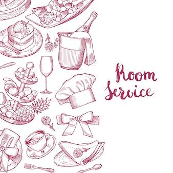 Vector il fondo disegnato a mano degli elementi di servizio in camera o del ristorante con il posto per l'illustrazione del testo
