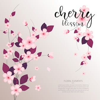 Vector il fondo floreale del fiore di ciliegia della molla tropicale di vettore