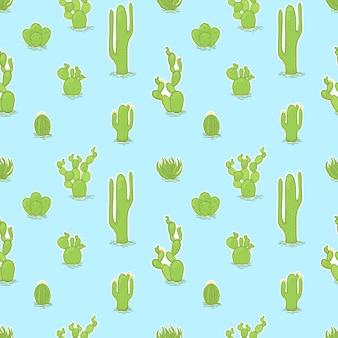 Vector il modello alla moda senza cuciture con differenti cactus.