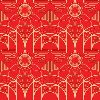 Vector il modello asiatico delle mattonelle geometriche moderne su fondo rosso.