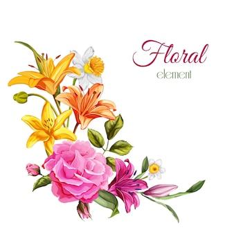 Vector il modello d'annata dei fiori dell'acquerello con il giglio, la rosa, fiori con le foglie per progettazione della partecipazione di nozze.