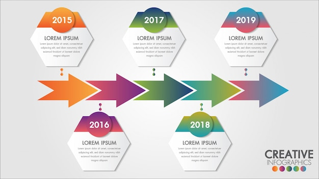 Vector il modello di infographics di cronologia di 5 punti delle frecce per gradi, diagramma diagramma, grafico