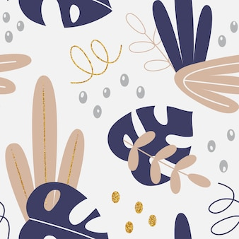 Vector il modello floreale con le foglie e gli elementi di disegno della mano di tropico