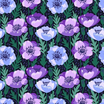 Vector il modello senza cuciture con la mano che disegna i fiori dell'anemone viola.