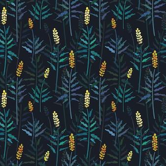 Vector il modello senza cuciture con la mano che disegna le piante selvatiche.