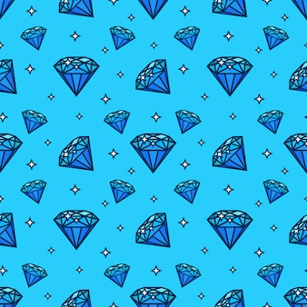 Vector il modello senza cuciture con le icone della gemma e del diamante. texture ed elemento di design con icona jewerly piatta