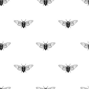Vector il modello senza cuciture disegnato a mano d'annata di vettore con lo scarabeo, insetto, dor, dorr, insetto. illustrazione retrò