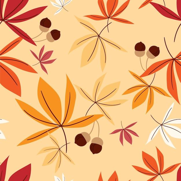 Vector il modello senza cuciture floreale con le foglie e la ghianda di autunno.