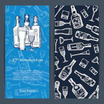 Vector il modello verticale dell'invito delle bottiglie e di vetro della bevanda dell'alcool disegnato a mano per l'illustrazione di apertura della barra o del partito
