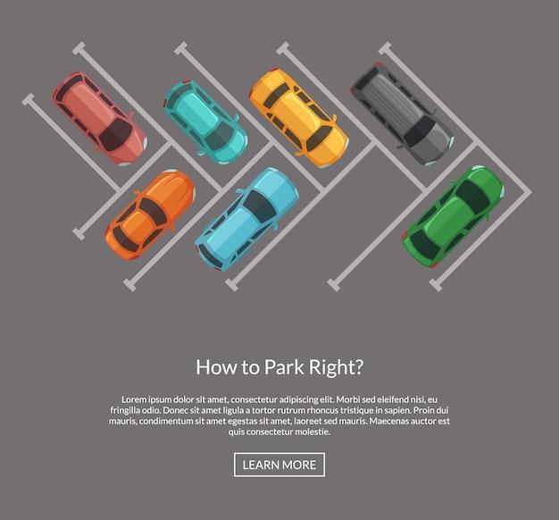 Vector il parcheggio con l'illustrazione di vista superiore delle automobili