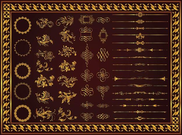 Vector il retro modello senza cuciture floreale dell'oro fissato il colore