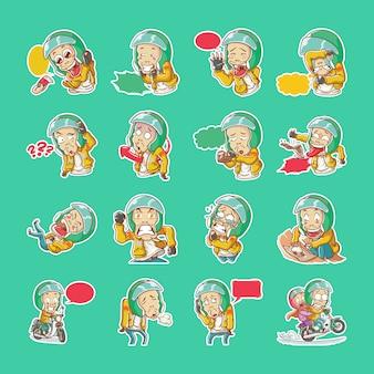 Vector il tassista online del tassista dell'illustrazione nello stile disegnato a mano di coloritura del fumetto del casco del ojek dell'azionamento del motociclo