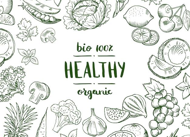 Vector il vegano disegnato a mano di frutta e verdure di scarabocchio orizzontale, l'insegna sana dell'alimento e il manifesto con l'illustrazione delle verdure del fondo