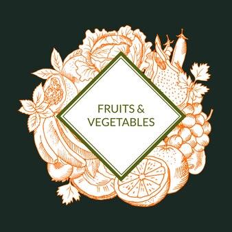 Vector il vegano schizzato delle verdure e delle frutta, emblema sano dell'alimento isolato su fondo colorato.