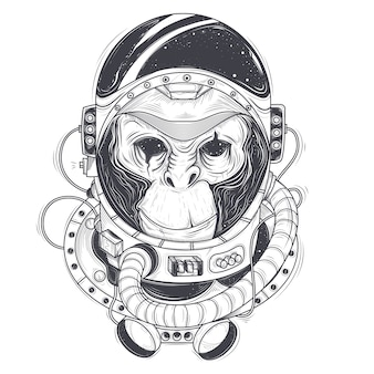 Vector illustrazione disegnata a mano di un astronauta scimmia, scimpanzé in un abito spaziale