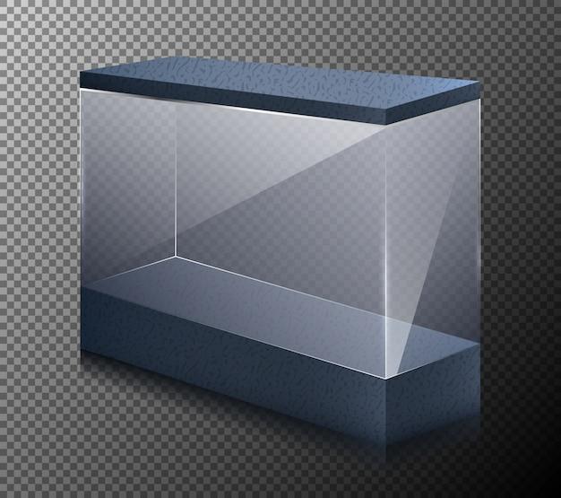 Vector illustrazione realistica di una vetrina vuota per la mostra