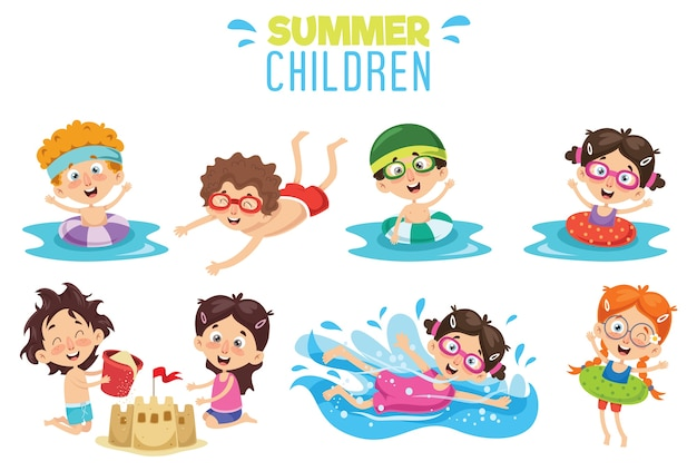 Vector ilustration of summer children