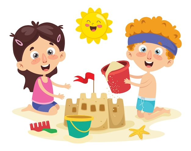 Vector ilustration of summer children