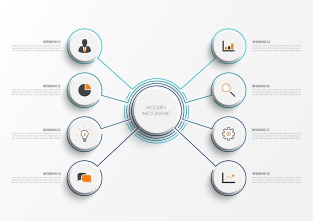 Vector infografica con carta 3d