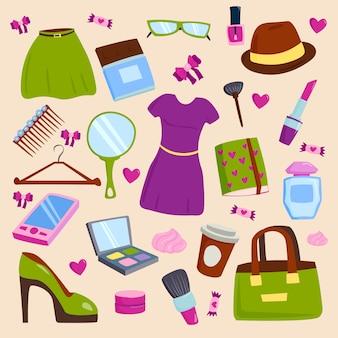Vector l'abbigliamento e gli accessori della ragazza dell'estate isolati su fondo bianco