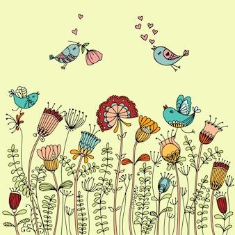 Vector l'illustrazione con gli uccelli che volano intorno ai fiori e disponga per testo.