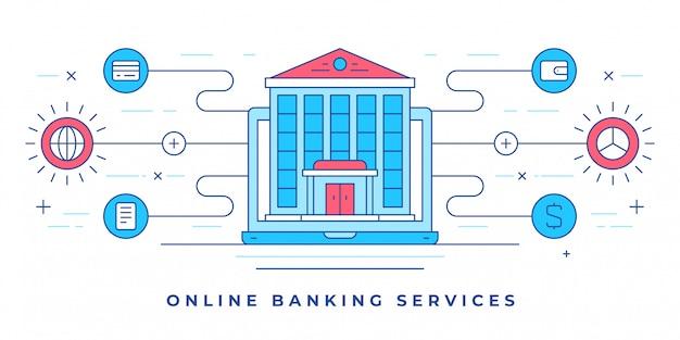 Vector l'illustrazione con la costruzione sullo smartphone e sulle icone per attività bancarie online del sito web