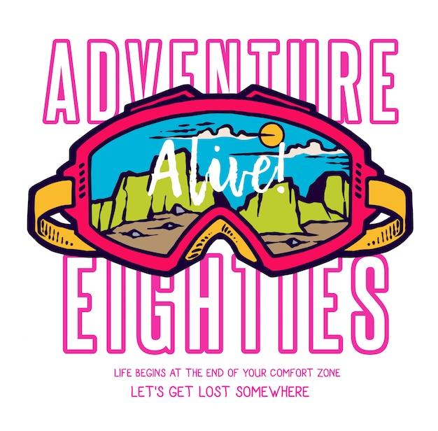 Vector l'illustrazione degli occhiali di protezione estremi di motocross con la montagna e la natura abbelliscono dentro