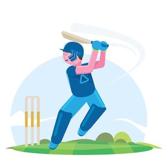 Vector l'illustrazione del battitore che gioca il campionato del cricket.