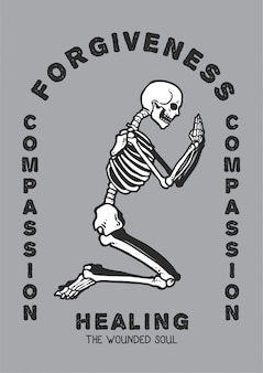 Vector l'illustrazione del cranio che prega nella posizione di culto che cerca il perdono e la compassione per guarire l'anima ferita.
