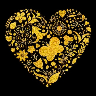 Vector l'illustrazione del cuore floreale dorato dei biglietti di s. valentino