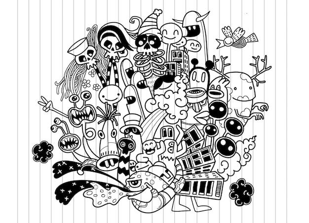 Vector l'illustrazione del mostro sveglio di scarabocchio, scarabocchio del disegno della mano