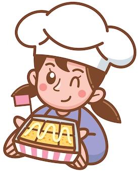 Vector l'illustrazione del panettiere del fumetto che presenta il pane tostato