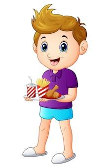 Vector l'illustrazione del ragazzo del fumetto con un vassoio di alimenti a rapida preparazione