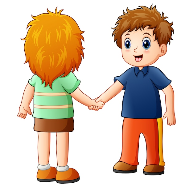 Vector l'illustrazione del ragazzo e della ragazza del fumetto che agitano le mani