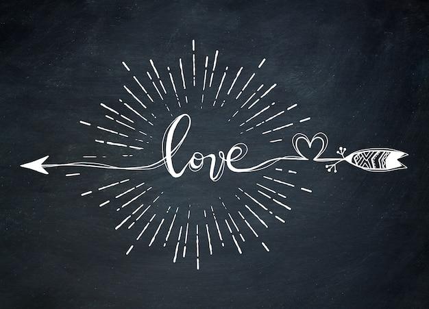 Vector l'illustrazione del segno di parola di tipografia amore