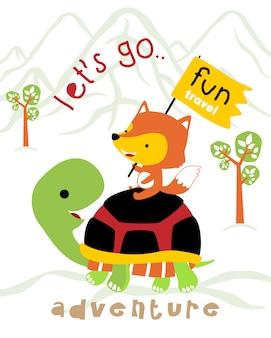 Vector l'illustrazione del viaggio divertente con il fumetto divertente degli animali
