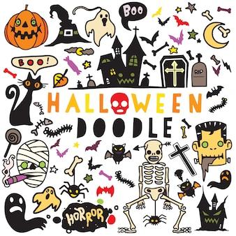 Vector l'illustrazione dell'insieme di progettazione del manifesto di halloween di scarabocchio, mano