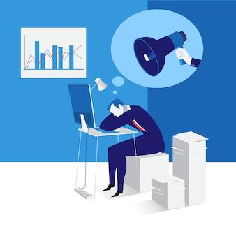 Vector l'illustrazione dell'uomo d'affari addormentato sul lavoro, progettazione piana di stile