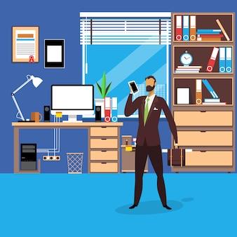 Vector l'illustrazione dell'uomo d'affari con lo smartphone nello stile piano