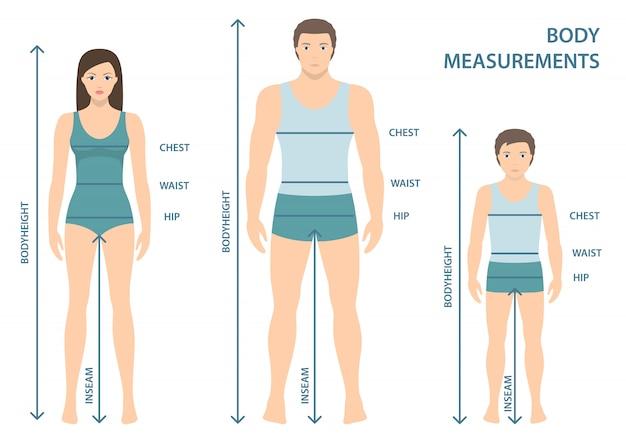Vector l'illustrazione dell'uomo, delle donne e del ragazzo in integrale con le linee di misurazione dei parametri del corpo. misure taglie uomo, donna e bambino. misure e proporzioni del corpo umano. design piatto.
