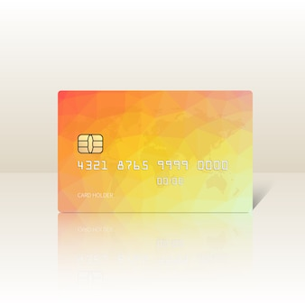 Vector l'illustrazione della carta di credito gialla lucida dettagliata isolata.